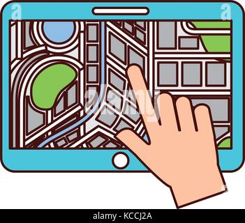 hand touching tablet pc with street map pointer mobile gps