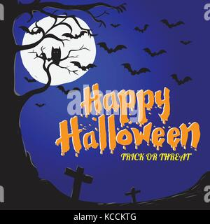 Happy Halloween Background, Graveyard with flying bats, tree, owl and full moon Background - Vector Illustration - Stock Photo