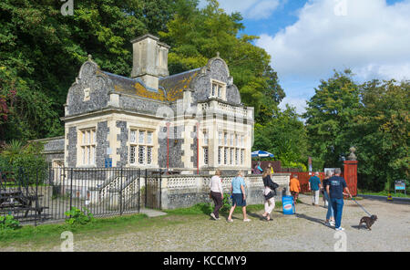 Swanbourne Lodge, a historic stone building used as a cafe at Swanbourne Lake in Arundel, West Sussex, England, - Stock Photo