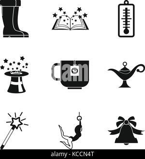 School break icons set, simple style - Stock Photo
