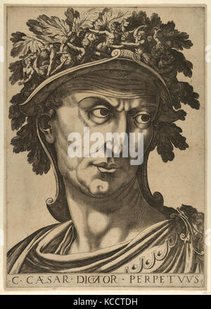 Plate 1: Julius Caesar looking to the right, from 'The Twelve Caesars', The Twelve Caesars, Artist, Raffaello Schiaminossi - Stock Photo