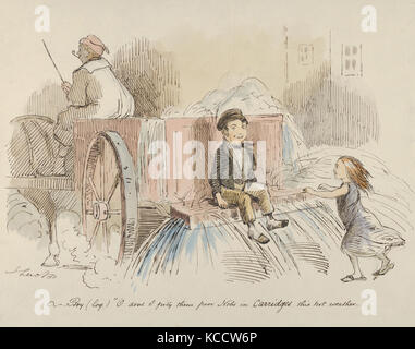 Boy (loq.) O don't I pity them poor Nobs in Carriages this hot weather, John Leech, 1830–64 - Stock Photo