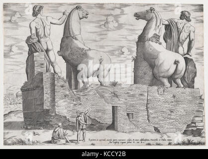 View of the Back of Statues of the Dioscuri at the Quirinal, Anonymous, 1550 - Stock Photo