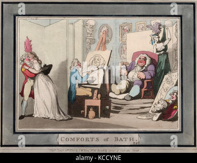 Drawings and Prints, Print, Comforts of Bath, Plate 6, Comforts of Bath, Artist, Publisher, Thomas Rowlandson - Stock Photo
