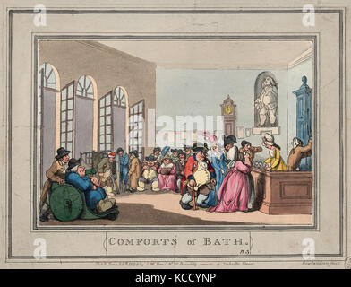 Drawings and Prints, Print, Comforts of Bath, Plate 3, Comforts of Bath, Artist, Publisher, Thomas Rowlandson - Stock Photo