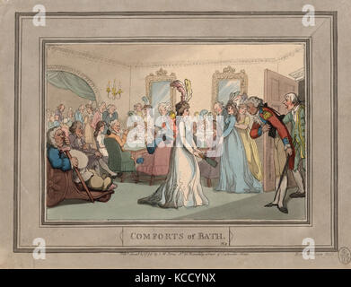 Drawings and Prints, Print, Comforts of Bath, Plate 8, Comforts of Bath, Artist, Publisher, Thomas Rowlandson - Stock Photo
