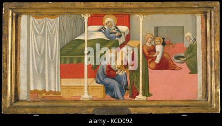 The Birth and Naming of Saint John the Baptist, Sano di Pietro, 1450–60 - Stock Photo