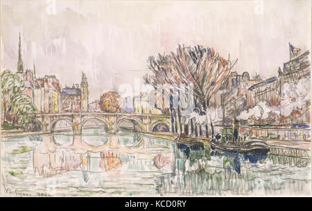 The Pont Neuf, Paris, 1928, Pencil and watercolor, 10 13/16 x 17 1/16 in. (27.5 x 43.3 cm), Drawings, Paul Signac - Stock Photo