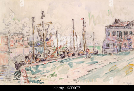 Venice, 1908 (?), Black crayon and watercolor, 10 1/16 x 15 13/16 in. (25.6 x 40.2 cm), Drawings, Paul Signac (French, - Stock Photo