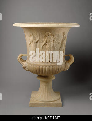 Marble calyx-krater with reliefs of maidens and dancing maenads, 1st century A.D - Stock Photo