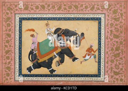 Prince Riding an Elephant, Painting by Khem Karan, 16th–17th century - Stock Photo