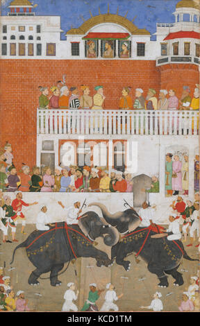 'Shah Jahan Watching an Elephant Fight', Folio from a Padshahnama, Bulaqi, probably 1639 - Stock Photo