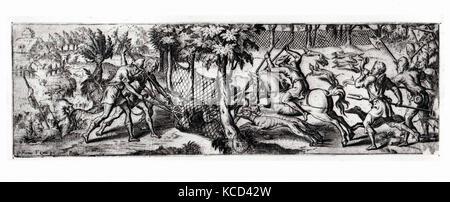 Wolf hunt, Étienne Delaune, second half 16th century - Stock Photo