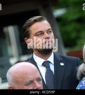 NEW YORK, NY - SEPTEMBER 16: Leonardo DiCaprio at the UN messengers of peace pose for a picture during the Peace - Stock Photo