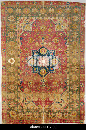 Silk Kashan Carpet, 16th century, Made in Iran, probably Kashan, Silk (warp, weft and pile); asymmetrically knotted - Stock Photo