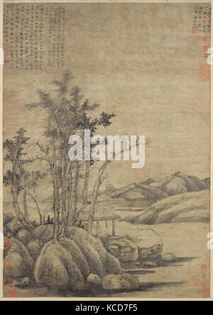 元  倪瓚 秋林野興圖 軸, Enjoying the Wilderness in an Autumn Grove, Ni Zan, dated 1339 - Stock Photo