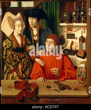 A Goldsmith in his Shop, 1449, Oil on oak panel, Overall 39 3/8 x 33 3/4 in. (100.1 x 85.8 cm); painted surface - Stock Photo