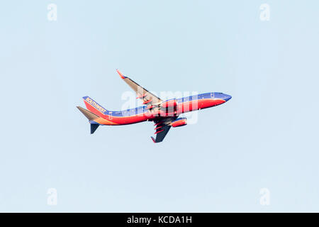 BOSTON USA 06.09.2017 - Southwest Airlines Boeing 737start takeoff at Logan International Airport - Stock Photo