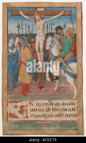 Manuscript Leaf with the Crucifixion, from a Book of Hours, 15th century - Stock Photo