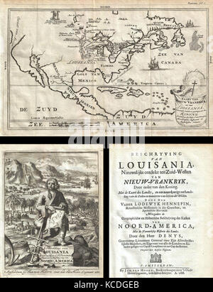 1688, Hennepin First Book and Map of North America, first printed map to name Louisiana - Stock Photo