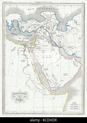 1843, Malte Brun Map of the Biblical Lands of the Hebrews, Egypt, Arabia, Israel, Turkey - Stock Photo