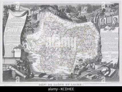 1847, Levasseur Map of Saone et Loire, France - Stock Photo