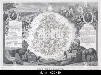 1847, Levasseur Map of Sarthe, France - Stock Photo