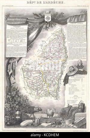 1847, Levasseur Map of the Dept. de L'Ardeche, France - Stock Photo