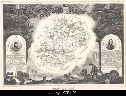 1847, Levasseur Map of the Dept. Du Lot, France - Stock Photo