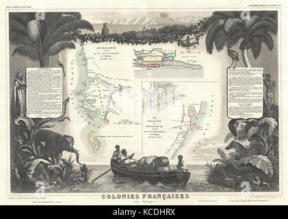 1852, Levassuer Map of Senegal, Senegambia, and Madagascar - Stock Photo