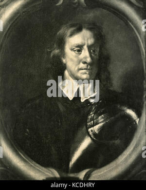 Portrait of Oliver Cromwell, painting by Peter Van Der Faes, AKA Cavalier Lely - Stock Photo