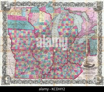 Colton Pocket Map Of Ohio Michigan Wisconsin Iowa - Map of illinois and missouri