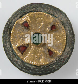 Disk Brooch, late 6th–early 7th century, Frankish, Gold on copper alloy, glass paste, Overall: 1 1/16 x 5/16 in. - Stock Photo