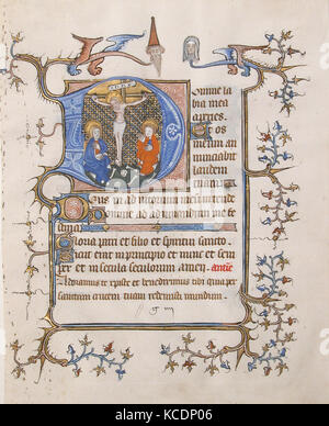 Manuscript Leaf with the Crucifixion in an Initial D, from a Book of Hours, ca. 1350 - Stock Photo