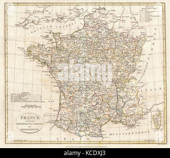 1799, Clement Cruttwell Map of France in Departments - Stock Photo