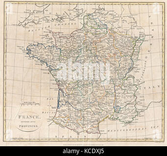 1799, Clement Cruttwell Map of France in Provinces - Stock Photo