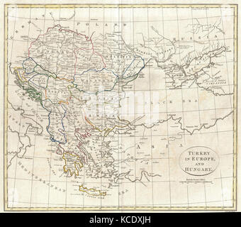 1799, Clement Cruttwell Map of Turkey in Europe - Stock Photo