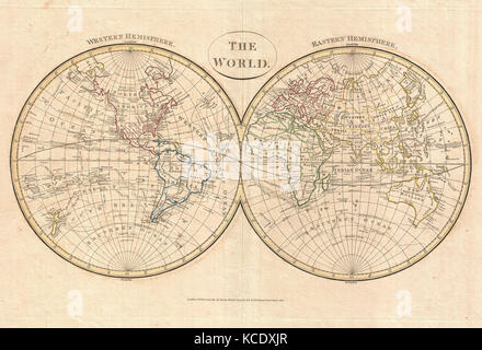 1799, Cruttwell Map of the World in Hemispheres - Stock Photo