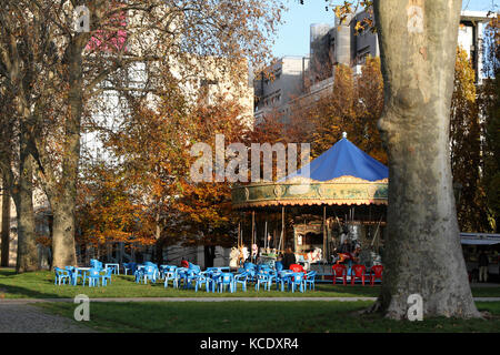 PARIS, FRANCE, NOVEMBER 27 - Merry-Go-Round in the park of Bercy, on November 27, 2013 in Paris, France. Parc de - Stock Photo