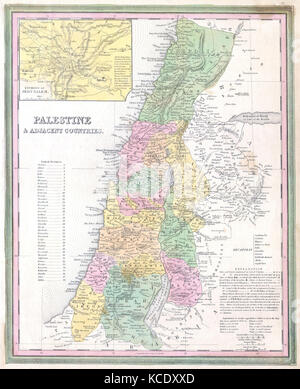 1836, Tanner Map of Palestine, Israel, Holy Land - Stock Photo