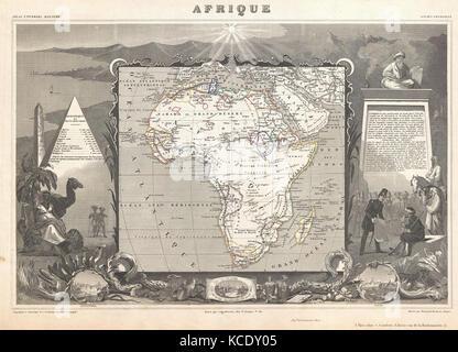 1847, Levasseur Map of Africa - Stock Photo