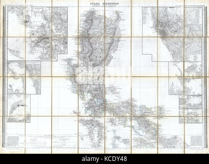 1852, Coello, Morata Case Map of the Philippines - Stock Photo