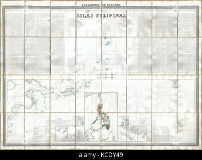 1852, Coello, Morata Case Map of the Philippines No. 3 - Stock Photo