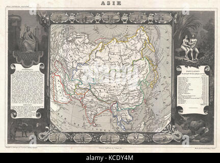 1852, Levasseur Map of Asia - Stock Photo