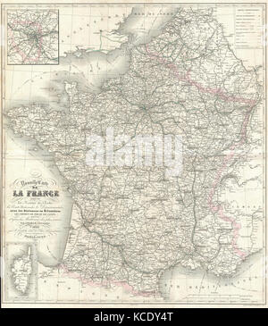 1852, Levasseur Map of France - Stock Photo