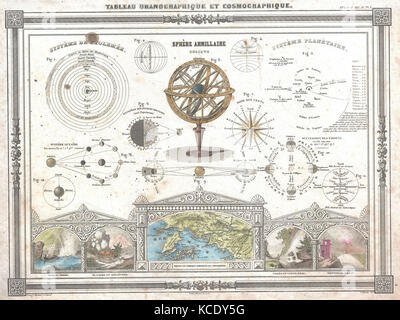1852, Vuillemin Astronomical and Cosmographical Chart - Stock Photo