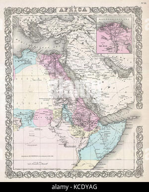 1855, Colton Map of Northeastern Africa - Stock Photo
