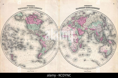 1862, Johnson Map of the World on Hemisphere Projection - Stock Photo