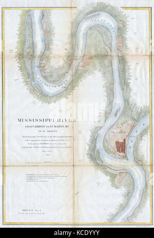 1865, U.S.C.S. Chart or Map of the Mississippi River around Cairo Illinois - Stock Photo
