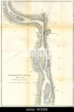 1865, U.S.C.S. Map of the Mississippi River around Chester Illinois - Stock Photo